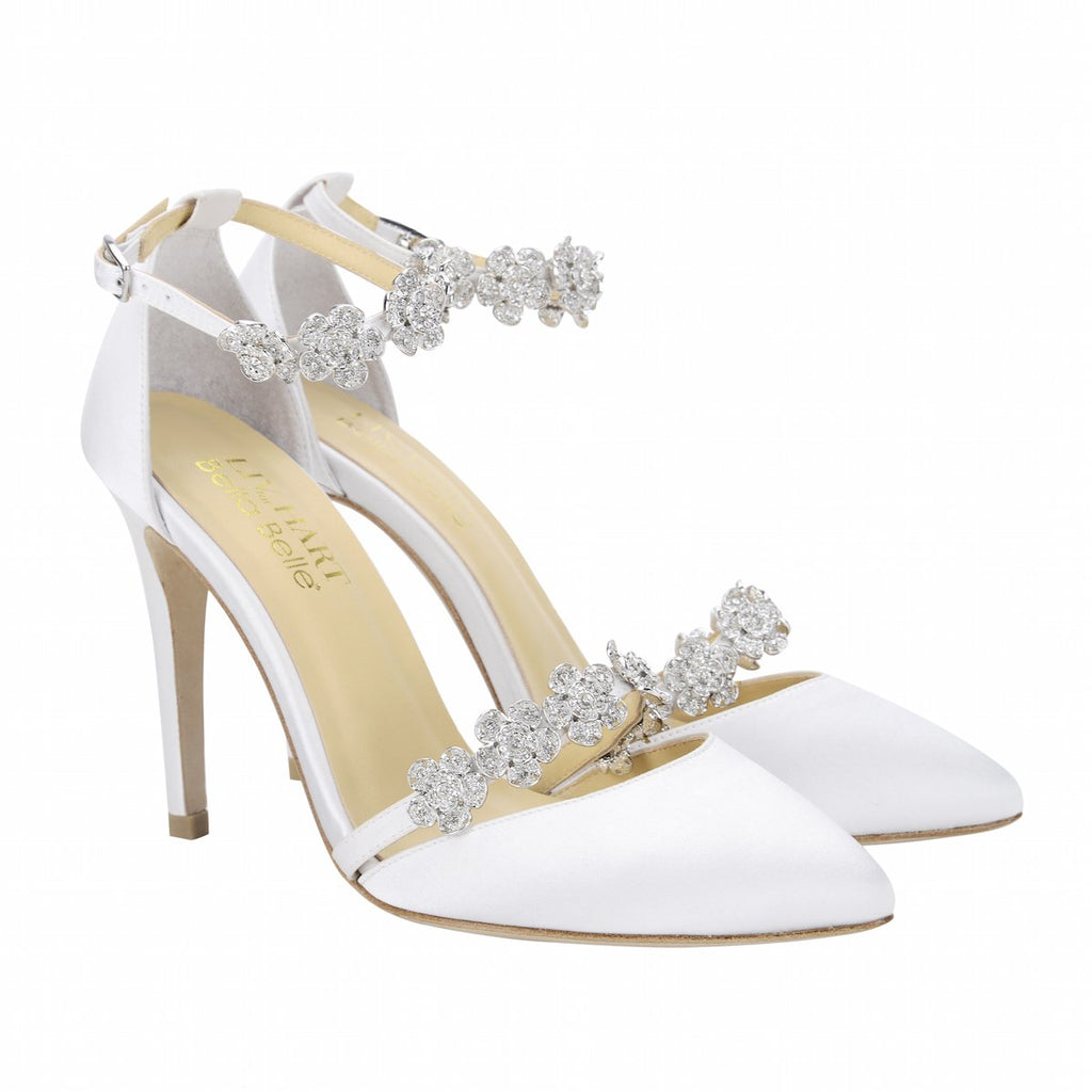 Bella Belle Silk Bow with Floral Crystal Ivory Wedding Heel - Olivia Ivory by Liv Hart