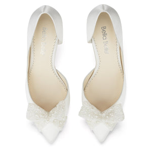 Ivory Silk D'Orsay Pump with Beaded Bow Dorothy Bella Belle
