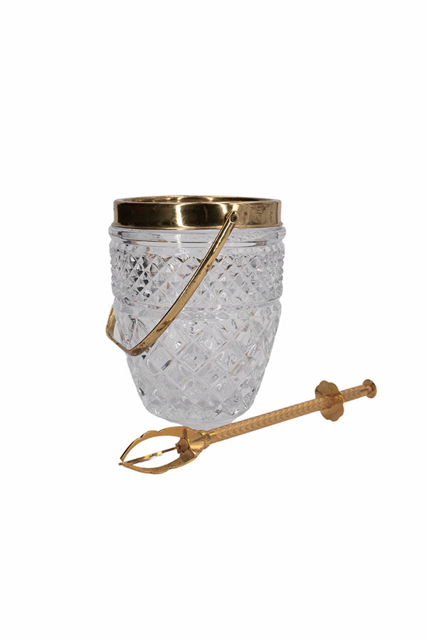 Bevelled Crystal & Gold Art Deco Ice Bucket with Gold Ice Pick