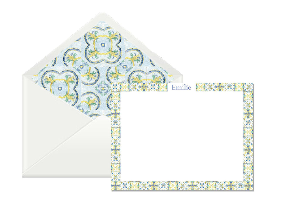 OTM Exclusive: Tile Stationery Set in Blue & Yellow