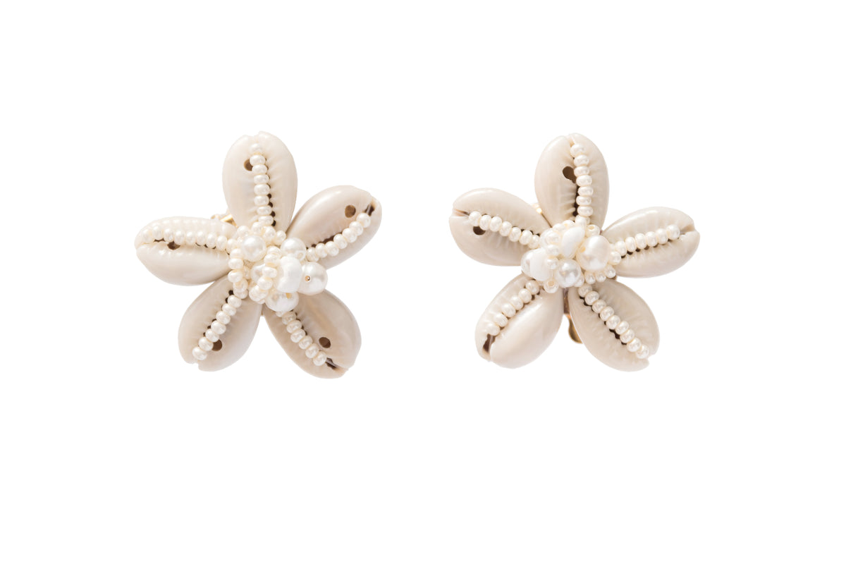 Seashell Flower Stud Earrings