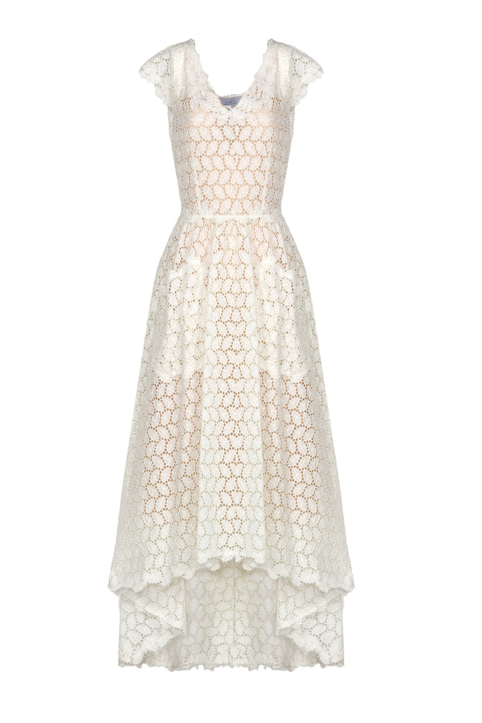 Asymmetric Eyelet Cotton Midi Dress