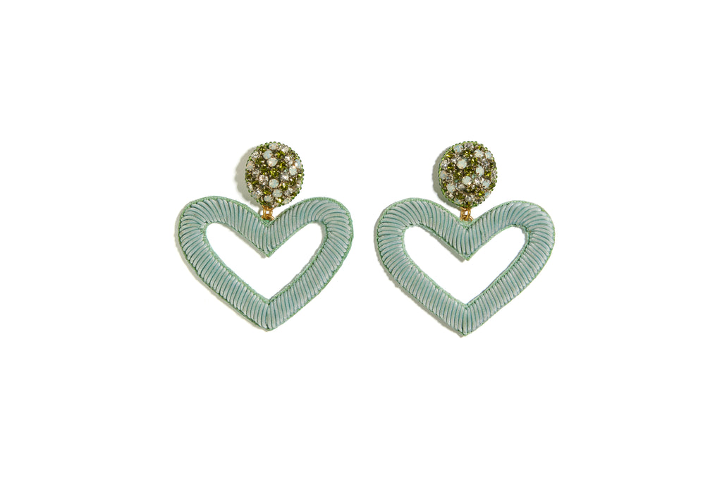 Embellished Heart Earrings in Sage