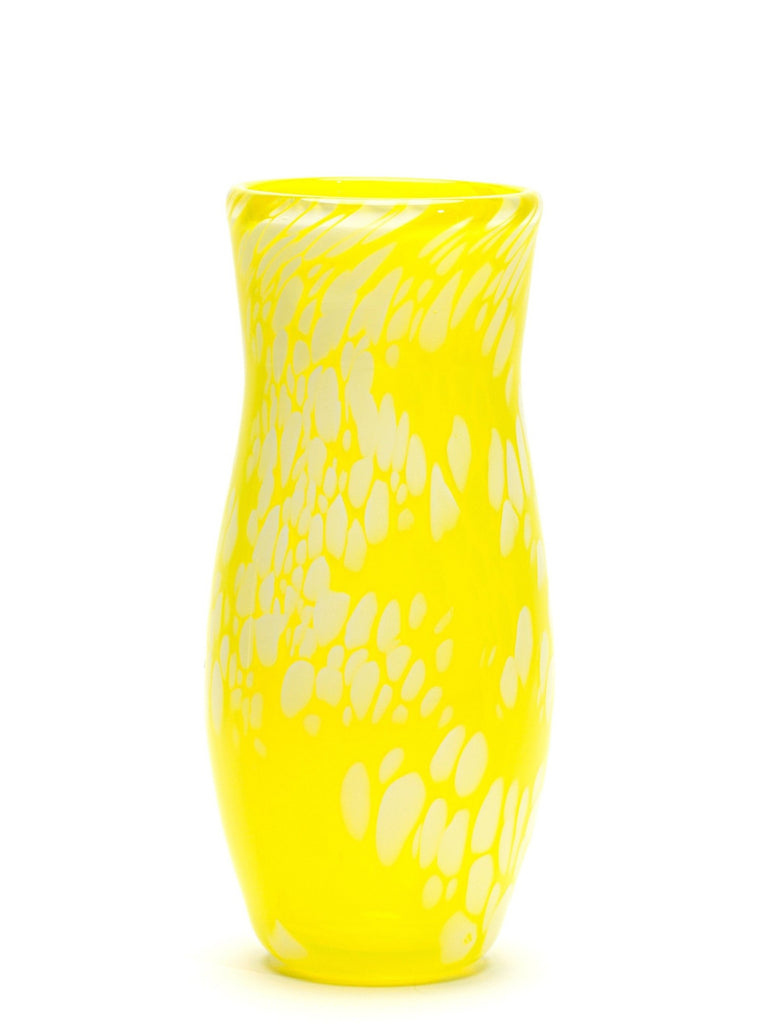 Transparent Neon Yellow White Spotted Vase
