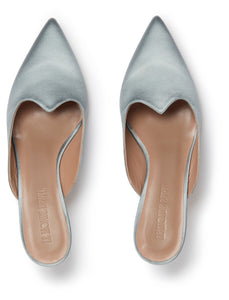 Kitten Heel Satin Mule in Silver