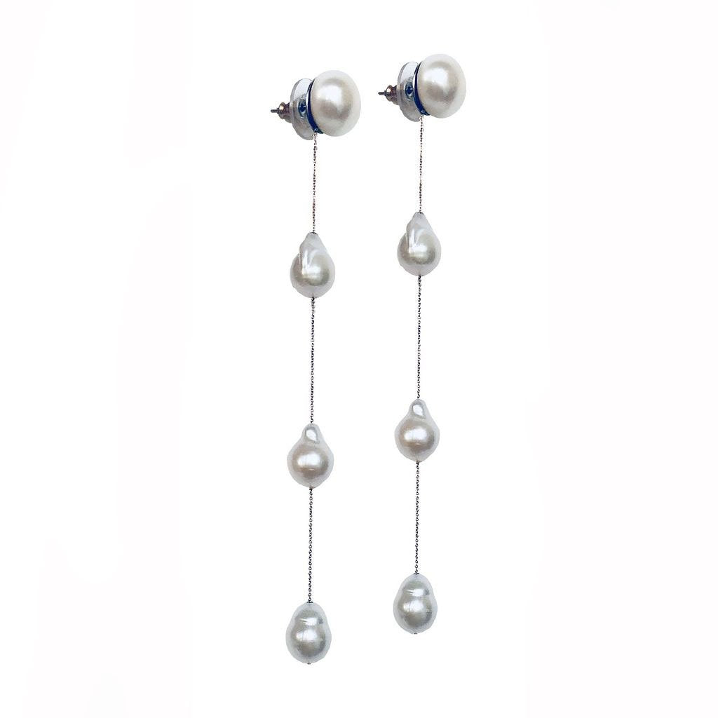 "4"" Natural Baroque Pearl Drop Earrings"
