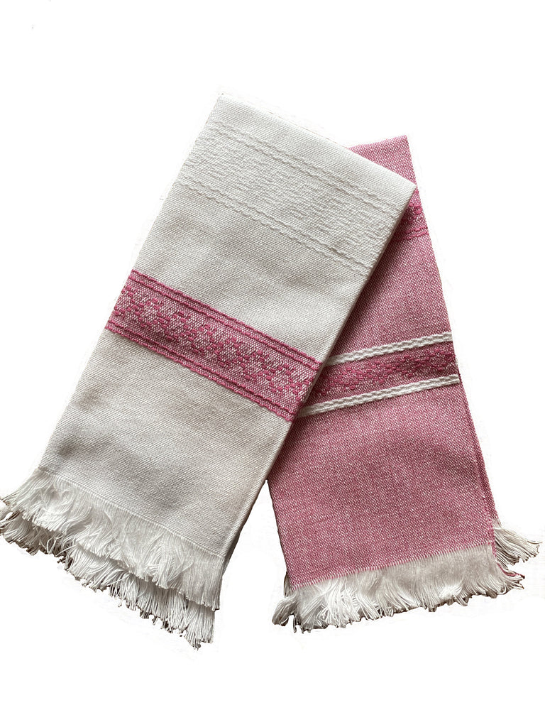 All Cotton Handwoven Towel in Pink