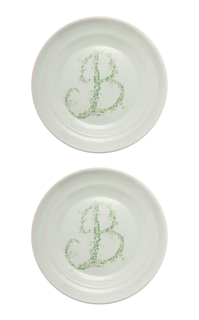 Monogram Flowers Porcelain Dinner Plate, Set of 2