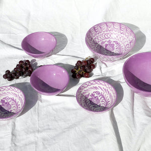 Casa Lila Medium Bowl with Hand-painted Designs