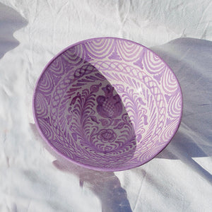 Casa Lila Large Bowl with Hand-painted Designs