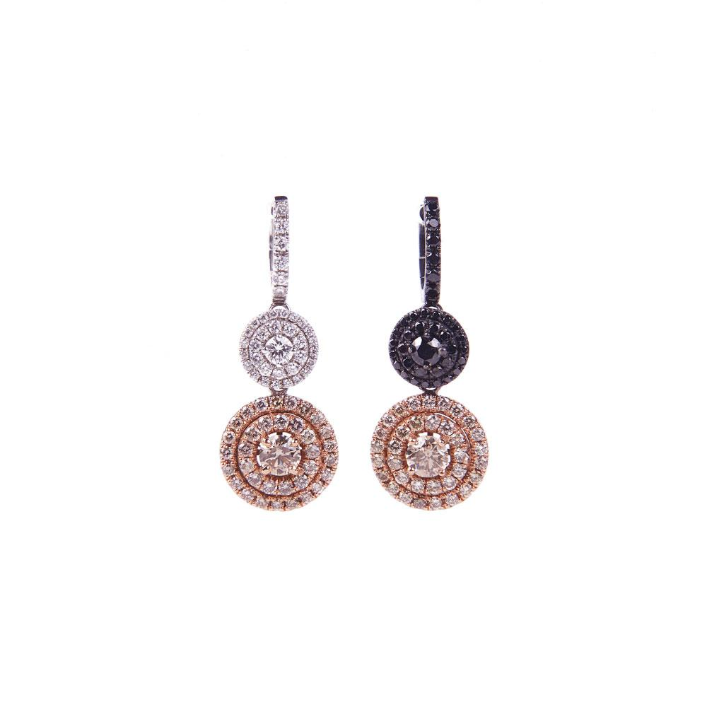Maria Jose Jewelry Champagne, Black, and White Diamond Earrings
