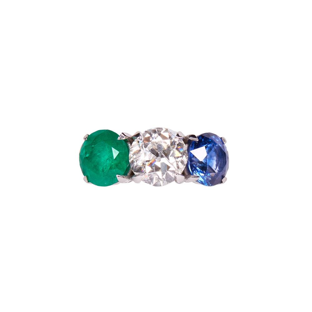 Maria Jose Jewelry Emerald and Sapphire Diamond Ring