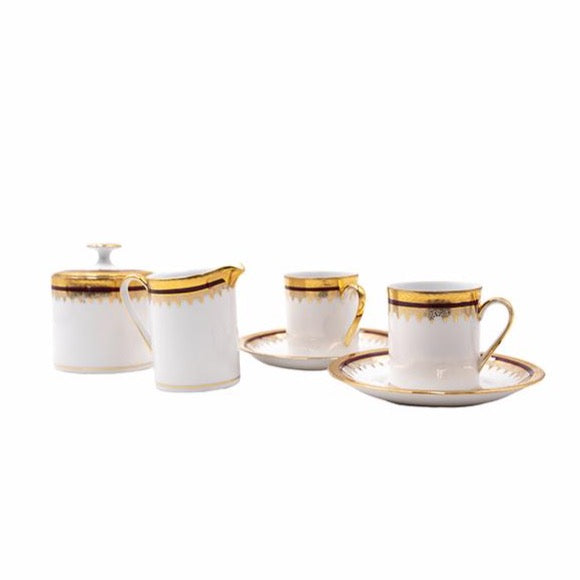 Maroon and Gold French Porcelain Coffee Set for Two