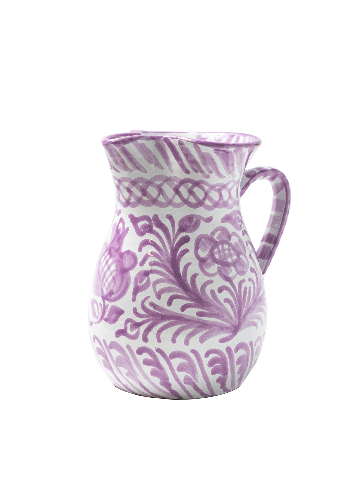 Casa Lila Medium Pitcher with Hand-painted Designs