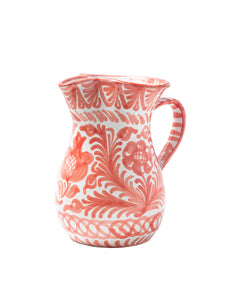 Casa Coral Medium Pitcher with Hand-painted Designs