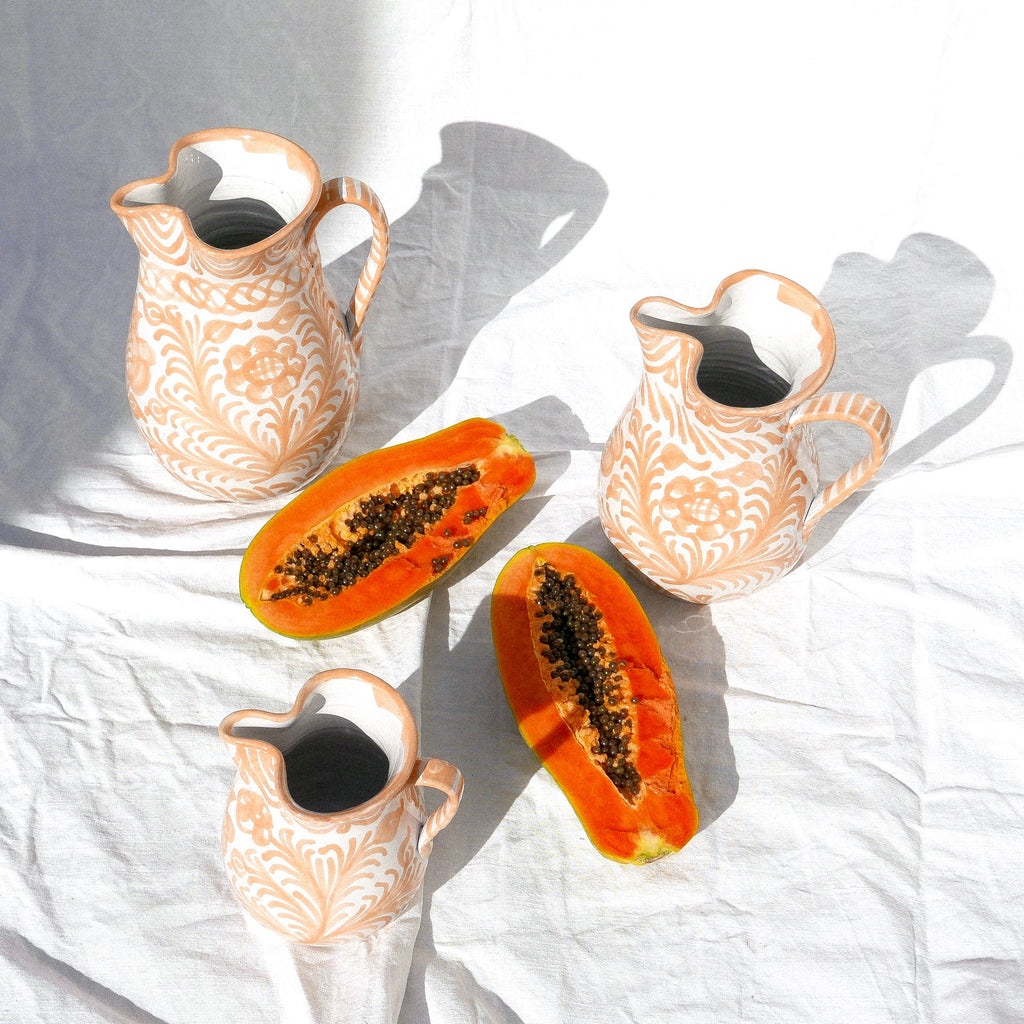 Casa Melocoton Medium Pitcher with Hand-painted Designs