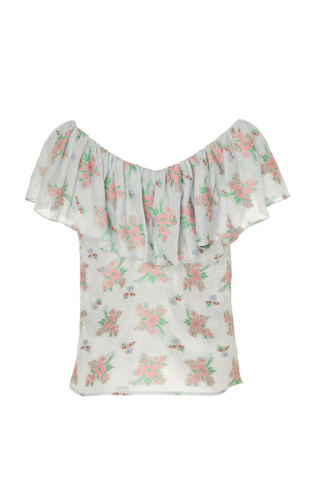 Fortunato Blue Floral Ruffled Ruched Top