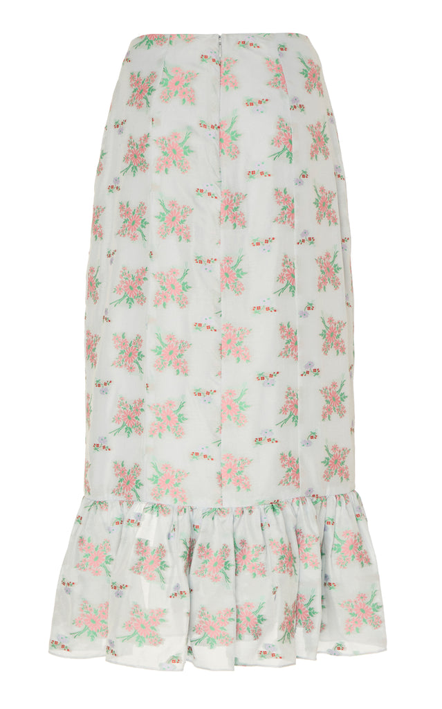 Farinata Blue Floral Corset Skirt With Bottom Ruffle