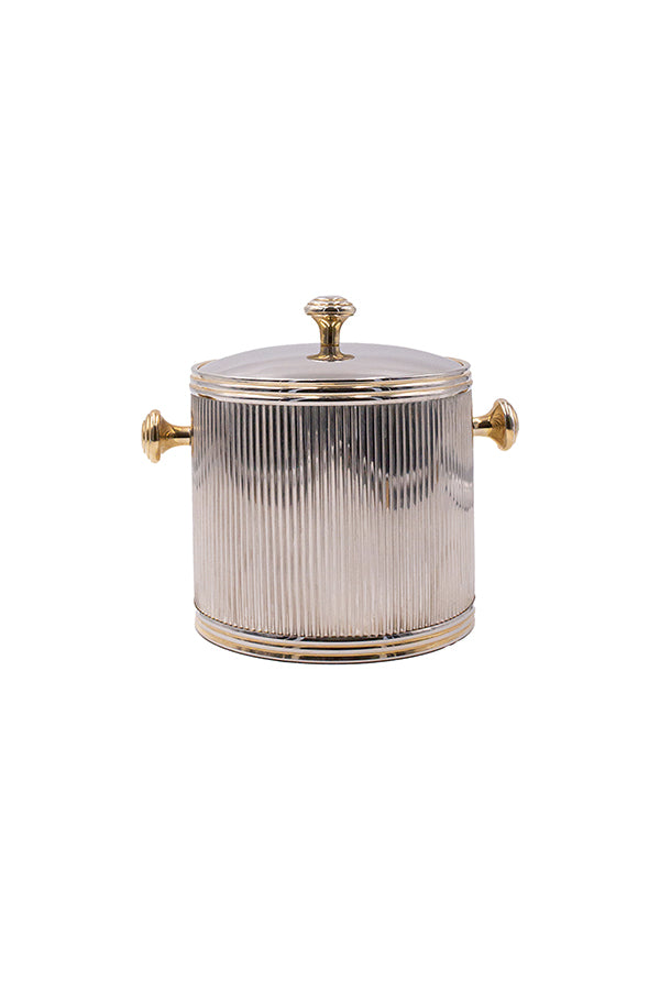 Ribbed Art Deco Silver and Gold Ice Bucket with Cover