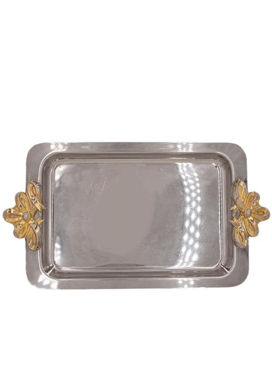 Silver Serving Tray with Gold Ribbon Handles
