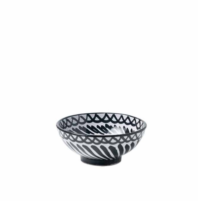 Casa Blanca & Negra Small Bowl with Hand-painted Designs