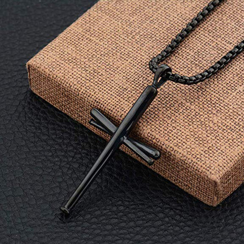 Image of Original Baseball Bat Cross Necklace - ShopBasesLoaded