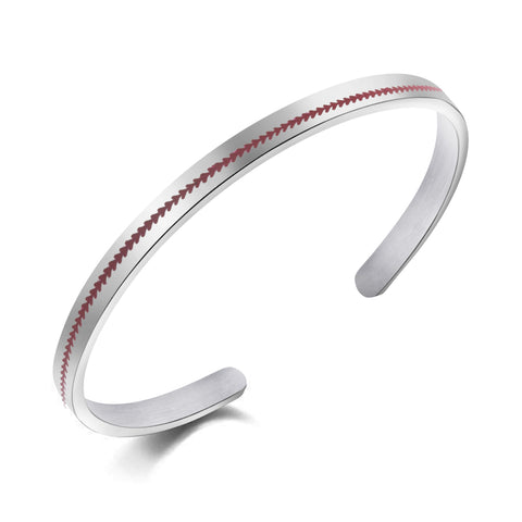Image of Stainless Steel Baseball Seam Bracelet - ShopBasesLoaded