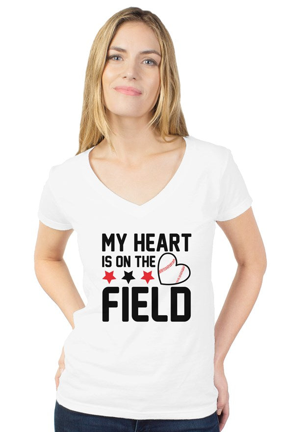 WOMEN - Heart On The Field V-Neck - ShopBasesLoaded