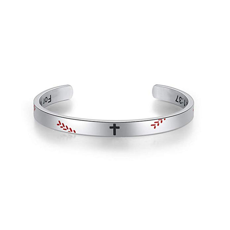 Stainless Steel Baseball Cross Bracelet - ShopBasesLoaded