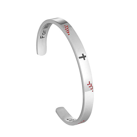 Image of Stainless Steel Baseball Cross Bracelet - ShopBasesLoaded