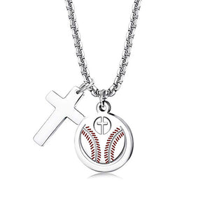 Baseball Cross w/ Pendant Necklace - ShopBasesLoaded