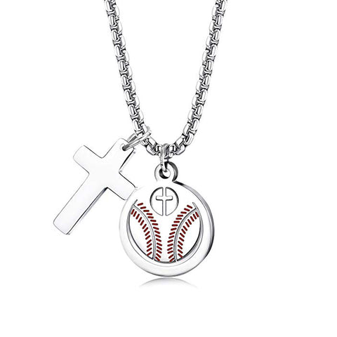 Image of Baseball Cross w/ Pendant Necklace - ShopBasesLoaded