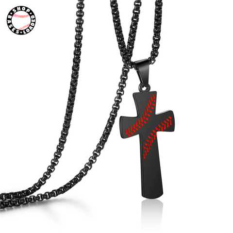 Image of Baseball Stitched Cross Necklace - ShopBasesLoaded