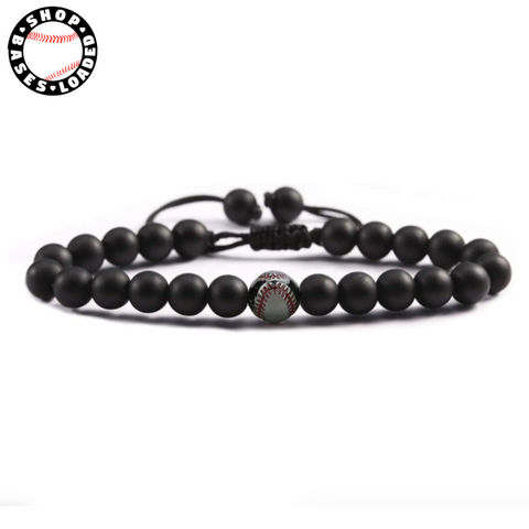 Image of Natural Stone Baseball Bracelet - ShopBasesLoaded
