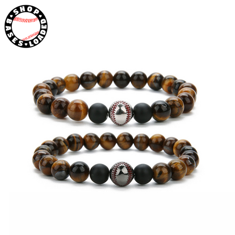 Image of Tiger Eye Baseball Bracelet - ShopBasesLoaded