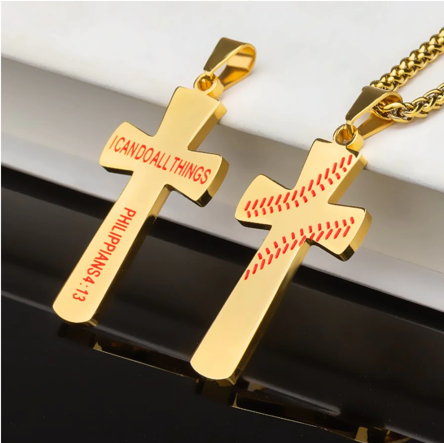 Baseball Stitched Cross Necklace - ShopBasesLoaded