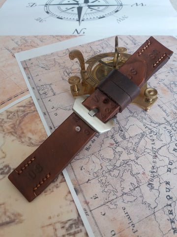 24mm Quality Italian leather watch strap vintage style