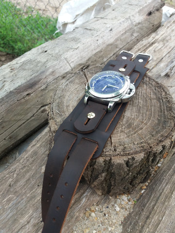 Dark brown leather watch cuff band
