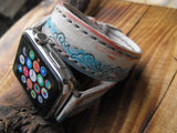 Women Apple Band - Tooled Double Wrap Strap Bracelet Hermes Style Apple Strap - GORIANI