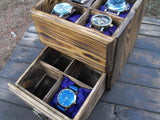 Rustic Watch Box Watch Case Large Watch Valet  Compartment 8 Watches Men Jewelry - GORIANI