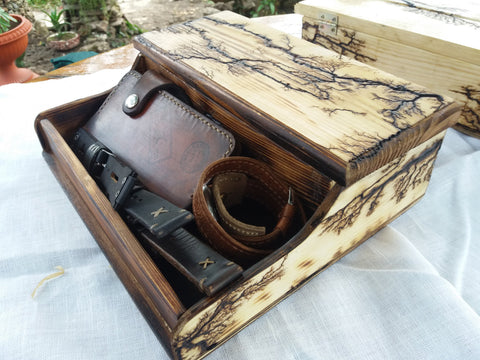 Lichtenberg Figures Watch box for men Organization Box Men's Valet and Watch box - GORIANI