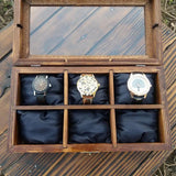 Watch Box Display Watch Case for Men Wood Box Glass Lid  Watch Display - GORIANI