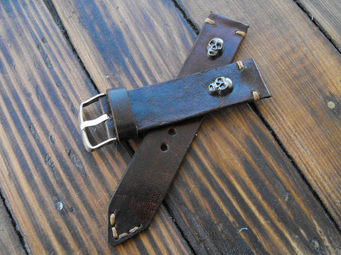 Leather Rocker Watch Band Steampunk Arm Band Rocker Punk Strap Steampunk Fashion - GORIANI