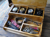Wooden Box Rustic  Watch Holder Stand  Accessory Box Boyfriend Gift - GORIANI
