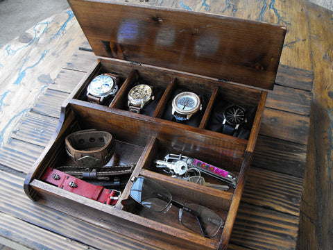 Gift Personalized Watch Box Men's Valet wooden Watch box Holds watches - GORIANI