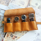 Personalized Leather Watch Holder for Men , Leather Watch Roll Case 3,4,5 or 6 pocket - GORIANI