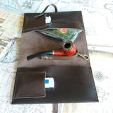 Pipe Organizer Handmade Leather Tobacco Pouch Pipe Cigar Pouch Tobacco  Pipe Roll - GORIANI