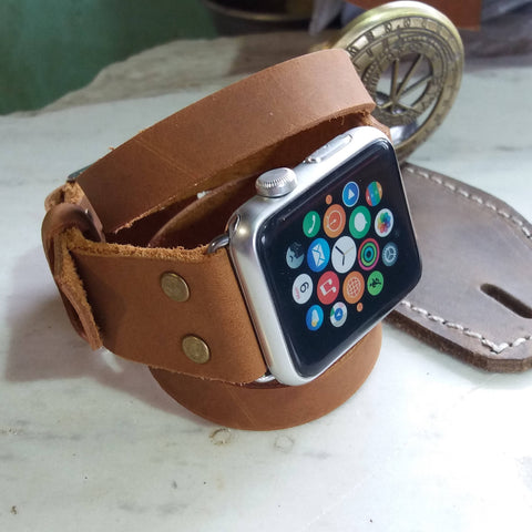 Leather Apple Watch Band Women Buckle 38mm 42mm Handmade iWatch Straps - GORIANI