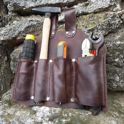 Multiple Tool Pouch for Belts Leather Tool Bag Cowhide Leather Tool Belt Electrician Carpenter - GORIANI