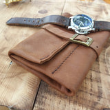 Brown Soft Leather Watch Roll Men Travel Case Holder Toll Roll - GORIANI
